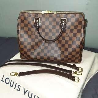 LV Louis Vuitton Speedy 30 Bandouliere Damier Ebene