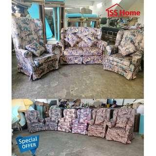 Wing Chair Floral Motif Fabric