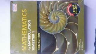 Mathematics For Matriculation Semester 1- 3 ed.