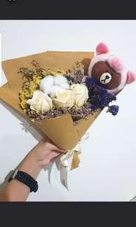Line bear with pig hoodie Baby breaths Bouquet