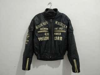 Jaket kulit motor racing jacket yellowcorn