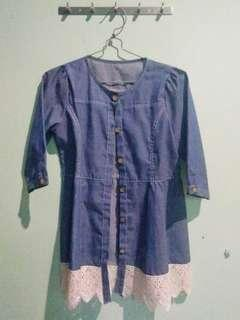 Dress/top denim brokat