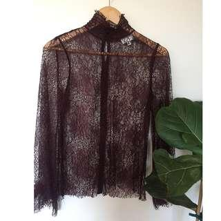 Witchery Burgundy Lace Top