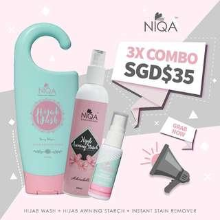 NIQA TRIO COMBO - INSTANT STAIN REMOVER, HIJAB WASH, HIJAB AWNING STARCH