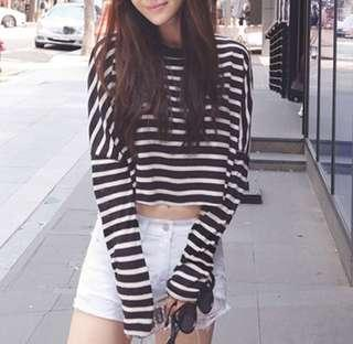 🚚 ulzzang oversized striped pullover