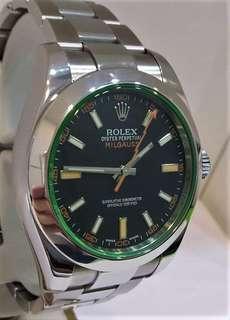 Rolex 116400GV Milgauss Green Sapphire Glass