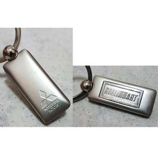 Mitsubishi car Ralli Art stainless steel metal key chain