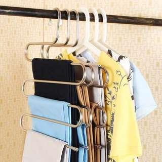 2 Pieces Stainless Steel Durable S Type Clothes Trouser Hanger Multi Layers Storage Rack Closet Saver Towel Holder Rack Tie Holder Rack
