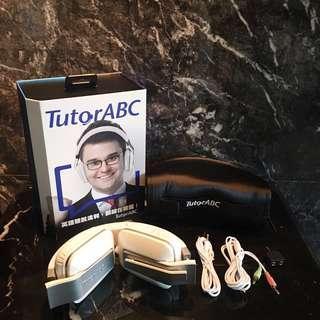 全新 Tutorabc 耳罩式耳機 平板 桌機 筆電通用 一分二轉接頭