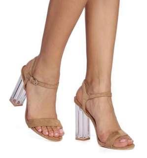 Tan nude Perspex heels