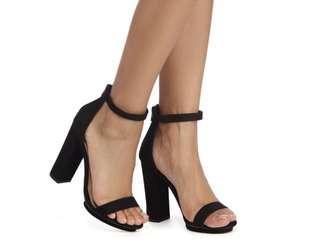 Simple black platform heels
