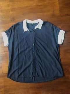UNIQLO blouse navy blue sz M