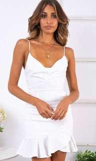 Stelly White Backless Panel Frill Dress