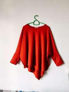 Red Elegant Irregular Batwing Top