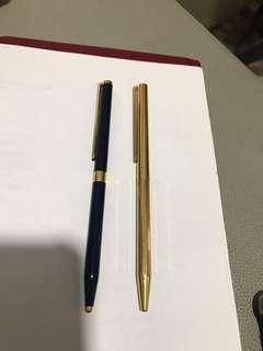 絕板都彭原子筆,一枝金色,一枝藍色燒青,保養良好,超值二枝靚筆,值得收藏。