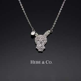 Crystal Bunny 925 Sterling Silver White Gold plated Pendant Necklace