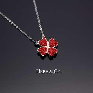 Red Clovers 825 Sterling Silver White Gold plated Pendant Necklace