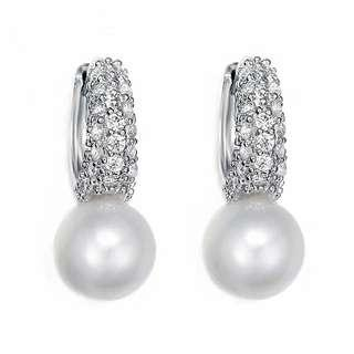 Pearl Platinum Plated Earrings