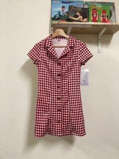 🚚 紅色 可愛 格子 短袖 洋裝 古著 二手