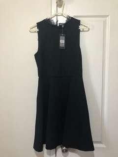 Black Forever New Laura Lace Skater Dress Knit Dress Size 8