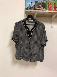 🚚 格子 高定感 古典 可愛 黑色 灰色 雪紡 短袖 襯衫 古著 二手