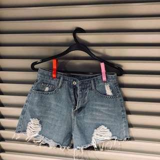 pale blue denim shorts