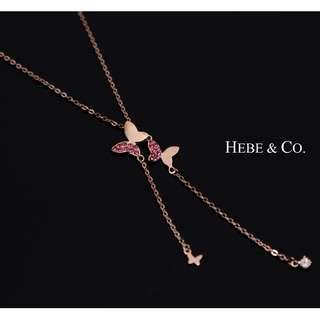 Butterfly of Spring 925 Sterling Silver Rose Gold plated Pendant Necklace