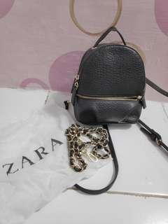 zara mini leather backpack original