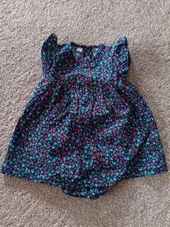 Dress Romper size 6m (small cutting untuk newborn up to 4 bulan)