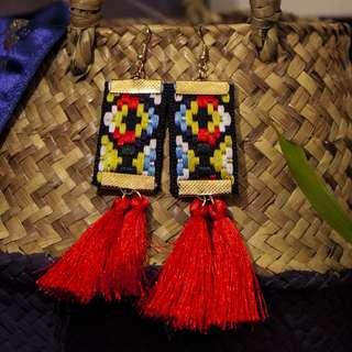 🚚 The No Hassle Tassels Earrings- Oriental Ikat Woven Yellow & Red