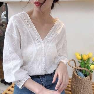 Korean Off White Lace Top