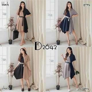 Dress combine 2 warna D2642
