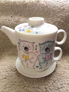 🚚 可愛貓咪系列全新泡茶茶壺包含杯子