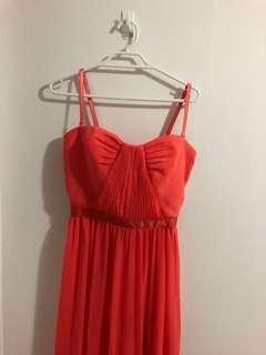 Coral Full-Length Dress