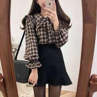 🚚 上衣春季韓版復古格子娃娃領襯衫