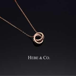Two Hearts as One 925 Sterling Silver Rose Gold plated Pendant Necklace