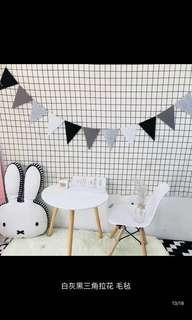 🚚 Grey felt buntings for birthday/ocassions