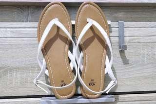 H&M White Sandlas Size 8