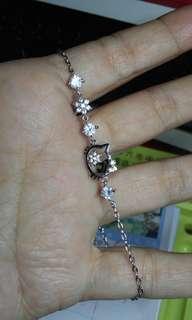 🚚 925銀可愛小貓晶鑽手鍊
