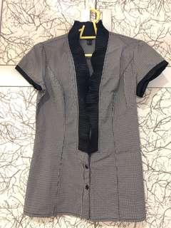 Element top/ working blouse/ gingham blouse/ shirt