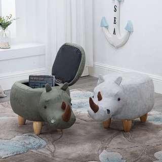 🚚 Laholm Baby Rhinoceros Storage Ottoman Pouffe Footstool Seat