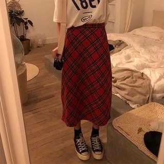 預購❗️格子大紅長裙