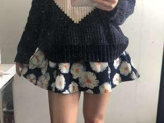 Floral skirt-shorts