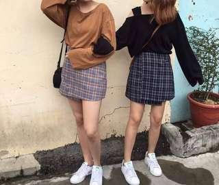 🚚 Roomee 藍色格紋短裙