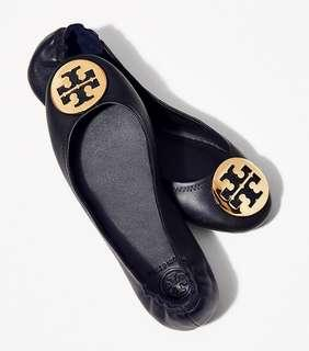 79dd15b56d9f (US 7.5) Authentic Tory Burch Minnie Travel Leather Ballet Flats Shoes