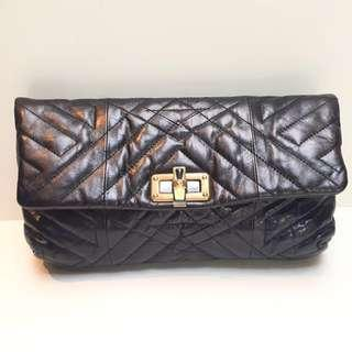 🚚 Lanvin Black Leather Clutch with Chain