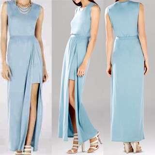 BCBGmaxazria Long Blue Slit Dress
