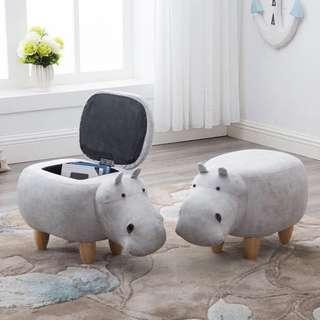 🚚 Abby Baby Hippopotamus Storage Ottoman Pouffe Side Stool