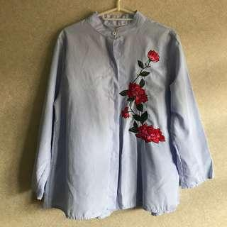 Korean Blue White Striped Floral Embroidery Blouse