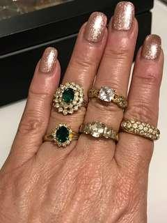 (5) USED Gold PLATED Rings
